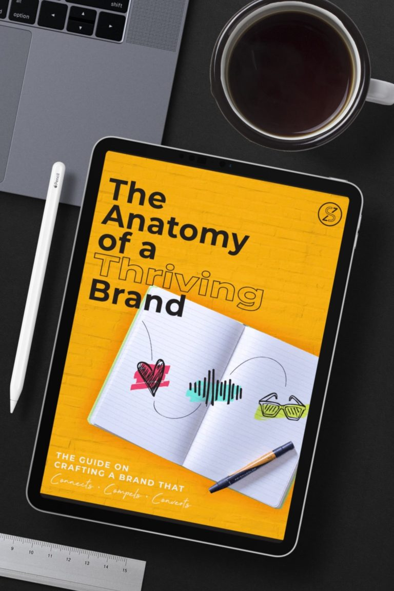 Mock up of Free Guide on The Anatomy of A Thriving Brand