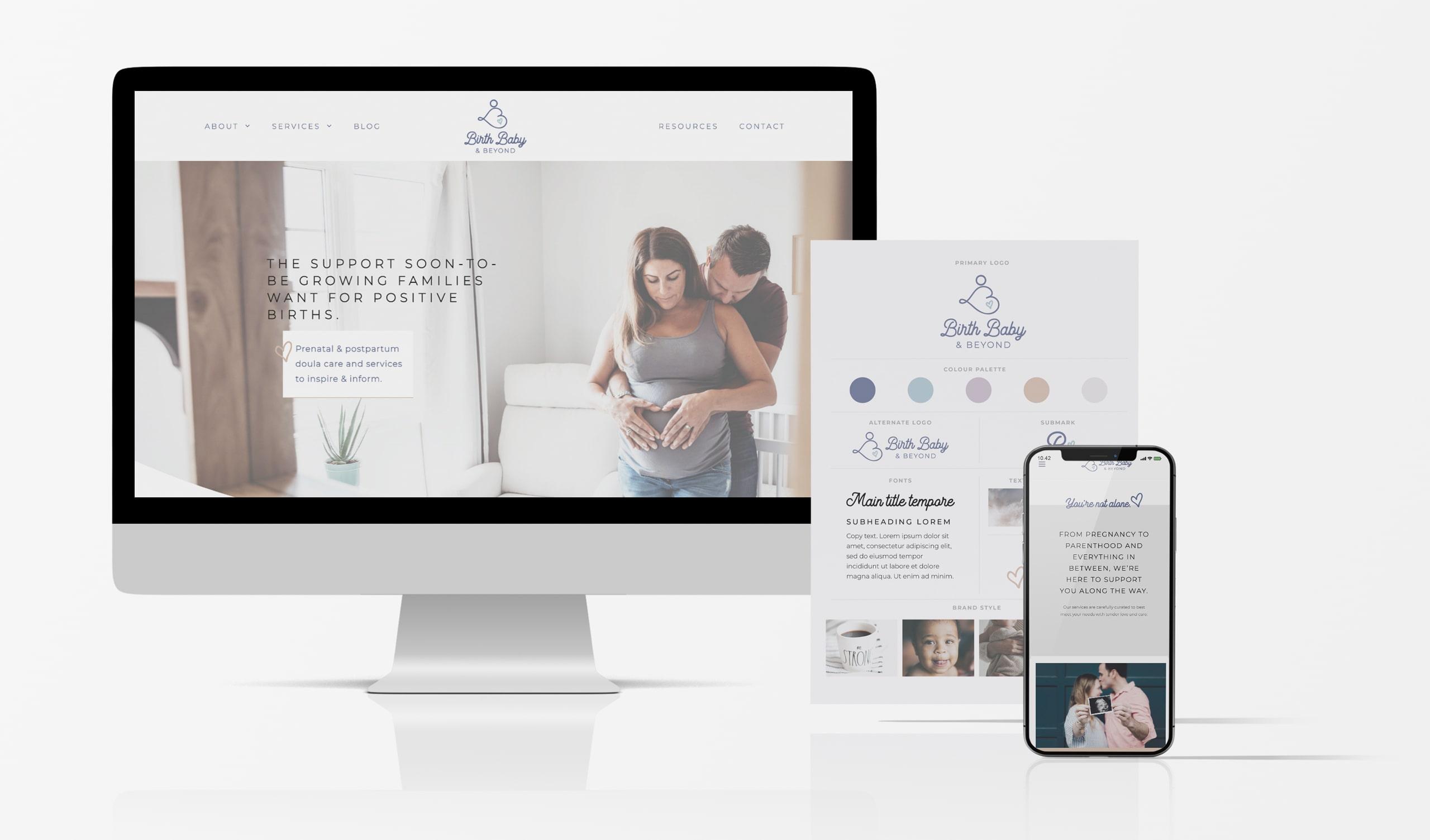 Brand Identity Design and Custom WordPress Website for Birth Baby and Beyond